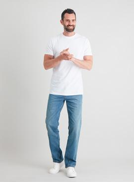 Light Wash Denim Straight Leg Jeans With Stretch