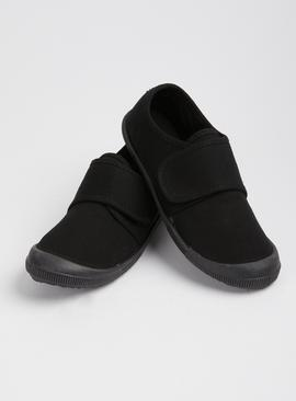 Black Touch And Close Plimsolls