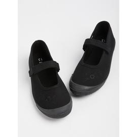 Black Mary Jane School Plimsolls