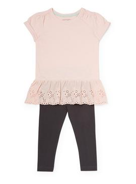 Pink Broderie Anglaise T-Shirt and Leggings Set - 9-12 month