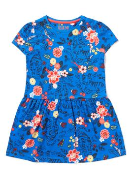Blue Floral Safari Print Jersey Dress - 9-12 months