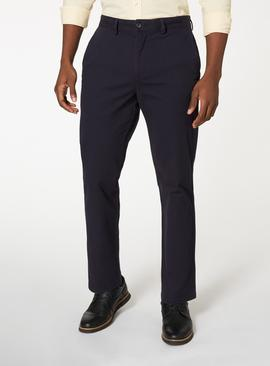 Navy Straight Leg Chinos With Stretch