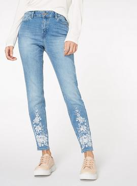 Floral Embroidered Skinny Jeans - 20L