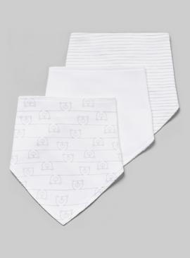 White Printed Hanky Bibs 3 Pack - One Size