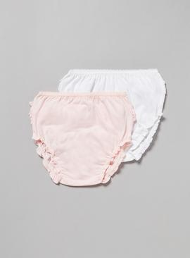 White & Pink Frilly Briefs 2 Pack