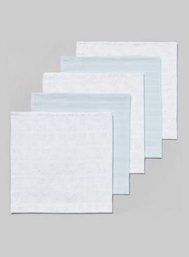Blue & White Muslin Squares 5 Pack - One Size