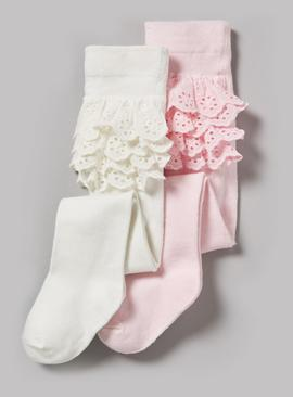 Pink & Cream Frilly Tights 2 Pack