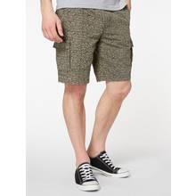 Black Ditsy Print Cargo Shorts