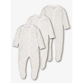 White Printed Sleepsuits 3 Pack