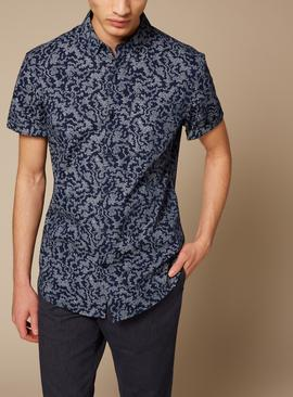 Navy Slim Fit Floral Shirt With Stretch - XS