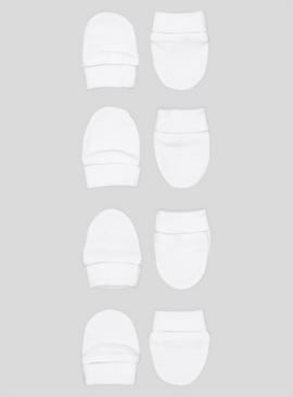 White Scratch Mitts 4 Pack - One Size