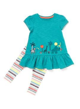 Multicoloured Safari Animal Embroidered T-Shirt and Leggings