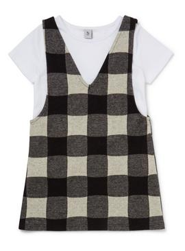 Monochrome T-Shirt and Check Dress Set