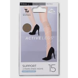 Bamboo Light Support 15 Denier Knee Highs 2 Pack - One Size