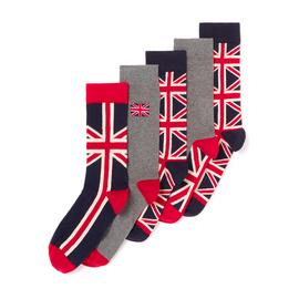 Multicoloured Union Jack Stay Fresh Socks 5 Pack
