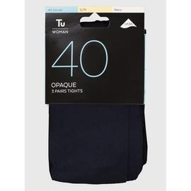Navy 40 Denier Opaque Tights 3 Pack - L/XL