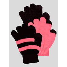 Multicoloured Fluro Magic Touch Screen Gloves 3 Pack - One S