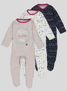3 Pack Multicoloured Floral Print Sleepsuits