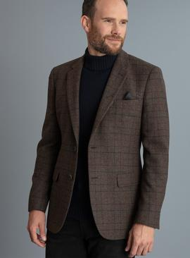 Checked Tailored Fit Blazer With Wool