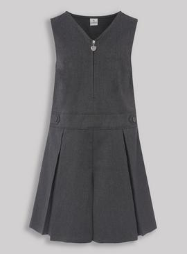 Grey Pleated Zip Front Playsuit