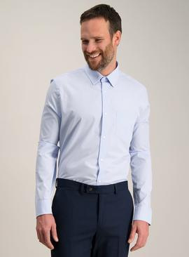 Blue Tailored Fit Easy Iron Shirts 2 Pack