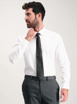 White Tailored Fit Shirt With Black Tie Set