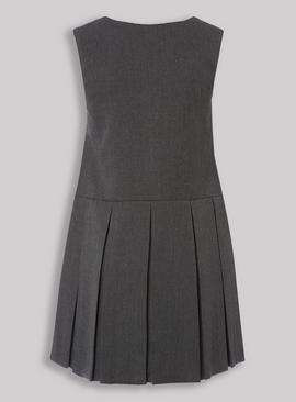 Grey Pleated Zip Front Pinafore Dress