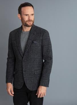 British Wool Charcoal Checked Tailored Fit Blazer
