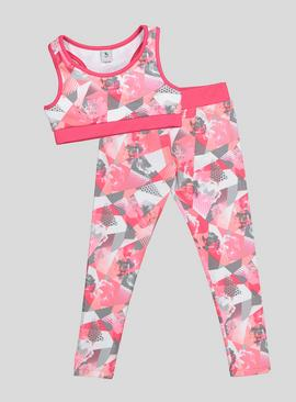 Pink Dance Crop Top and Leggings Set