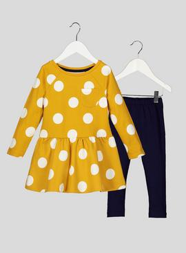 Yellow Polka Dot Dress and Leggings Set - 9-12 months