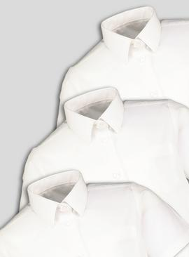 White Slim Fit School Shirts 3 Pack