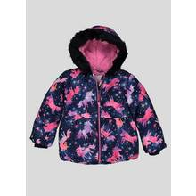 Navy Unicorn Puffer Coat With Hood (9 months - 6 years)