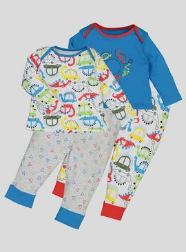 Multicoloured Dino Pyjamas 2 Pack