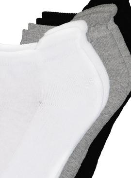 Black Grey & White Trainer Socks 3 Pack - 4-8