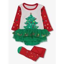 Multicoloured Christmas Tree Tutu Bodysuit With Tights