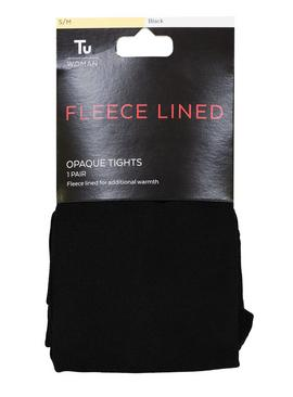 Black Fleece Lined Opaque Tights