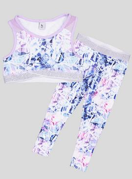 Multicoloured Dance Crop Top & Legging 2 Piece Set