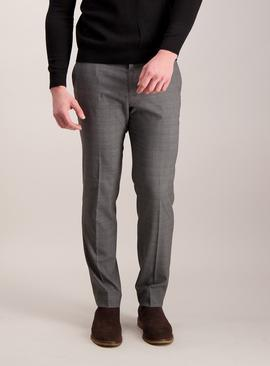 Grey Check Slim Fit Trousers With Stretch