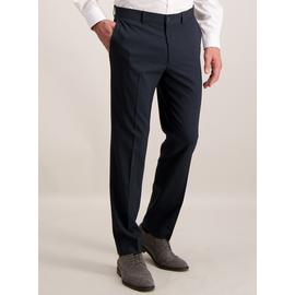 Navy Grid Tailored Fit Stretch Trousers