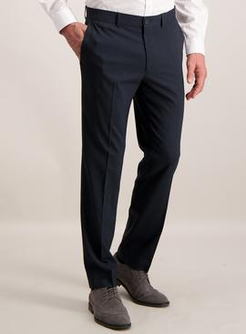 Navy Blue Grid Slim Fit Trousers With Stretch