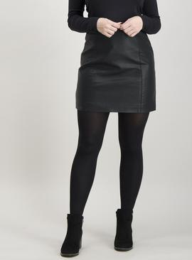 Online Exclusive PETITE Black Coated A-Line Mini Skirt