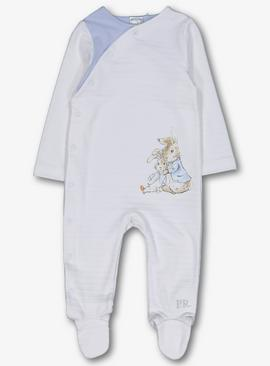 Online Exclusive Peter Rabbit White & Blue Sleepsuit
