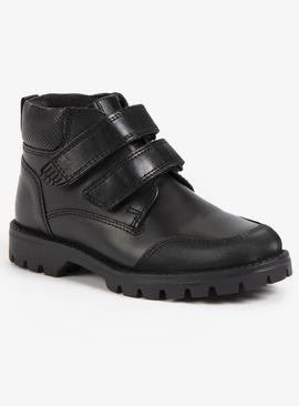 Black Leather One Touch Fastening Boots