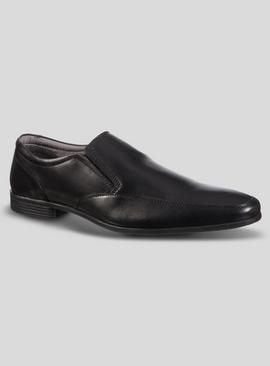 Sole Comfort Black Leather Slim Line Slip-on Shoes