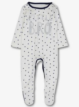 Online Exclusive White 'Little Bro' Sleepsuit
