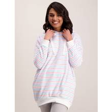 Multicoloured Stripe Fleece Hoodie Pyjama Top