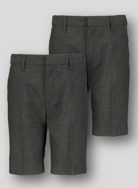 Online Exclusive Grey Classic School Shorts 2 Pack