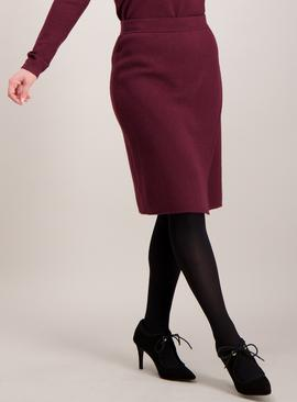 Online Exclusive PETITE Burgundy Knitted Wrap Skirt