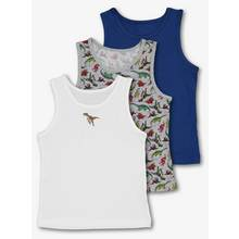 Multicoloured Dinosaur Themed Vests 3 Pack