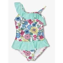 Multicoloured Floral & Stripe Textured Swimsuit (3-12 years)